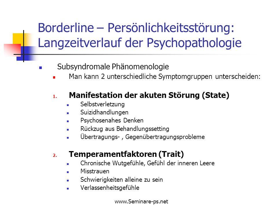 www.Seminare-ps.net Borderline – Persönlichkeitsstörung: Langzeitverlauf der Psychopathologie Subsyndromale Phänomenologie Man kann 2 unterschiedliche