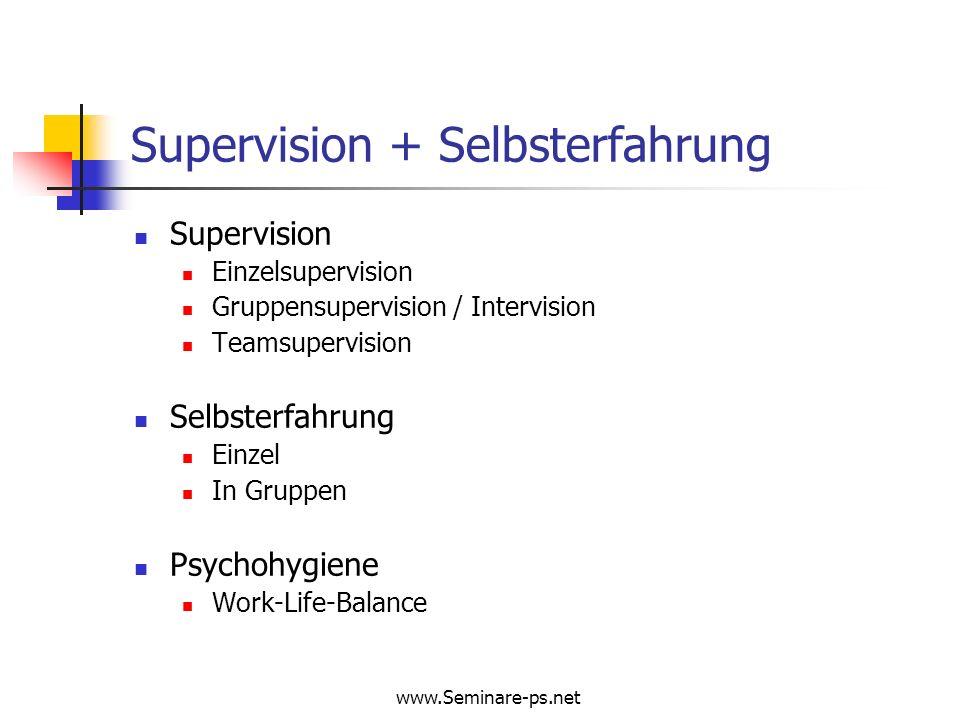 www.Seminare-ps.net Supervision + Selbsterfahrung Supervision Einzelsupervision Gruppensupervision / Intervision Teamsupervision Selbsterfahrung Einze