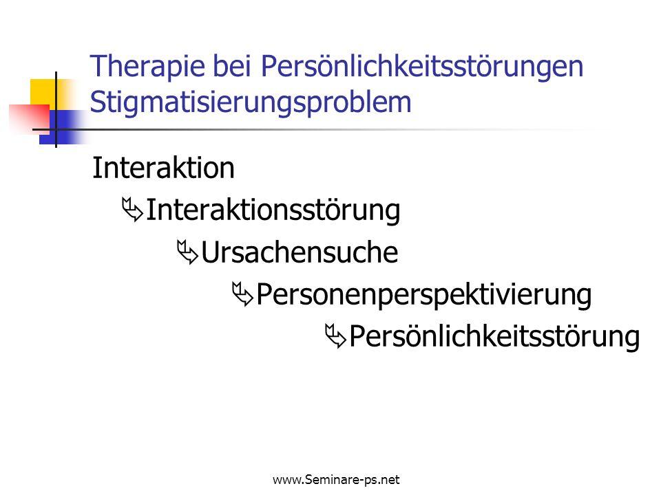 www.Seminare-ps.net Borderline – Persönlichkeitsstörung: Langzeitverlauf der Psychopathologie Affektive Symptome (%) 0J2J4J6J Depression98.689.879.970.1 Hoffnungs-/Hilflosigkeit98.384.479.261.0 Wut / Aggressive Gefühle95.287.686.279.2 Angst94.587.684.064.0 Langeweile / Leeregefühl98.686.284.472.3