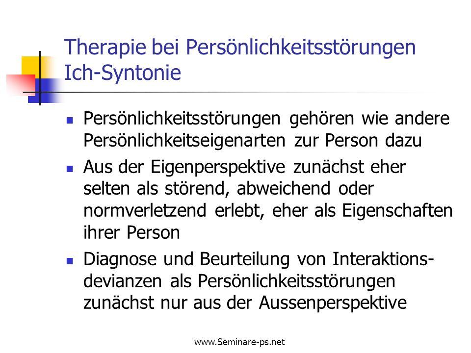 www.Seminare-ps.net Borderline – Persönlichkeitsstörung: Langzeitverlauf der Psychopathologie Impulsive Symptome (%) 0J2J4J6J Substanzabusus49.039.329.725.0 Sexuelle Devianz26.916.411.911.7 Selbstverletzung80.750.935.328.4 Suizidversuche81.454.534.925.8