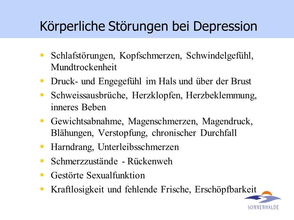 Körperliche Störungen bei Depression Schlafstörungen, Kopfschmerzen, Schwindelgefühl, Mundtrockenheit Druck- und Engegefühl im Hals und über der Brust