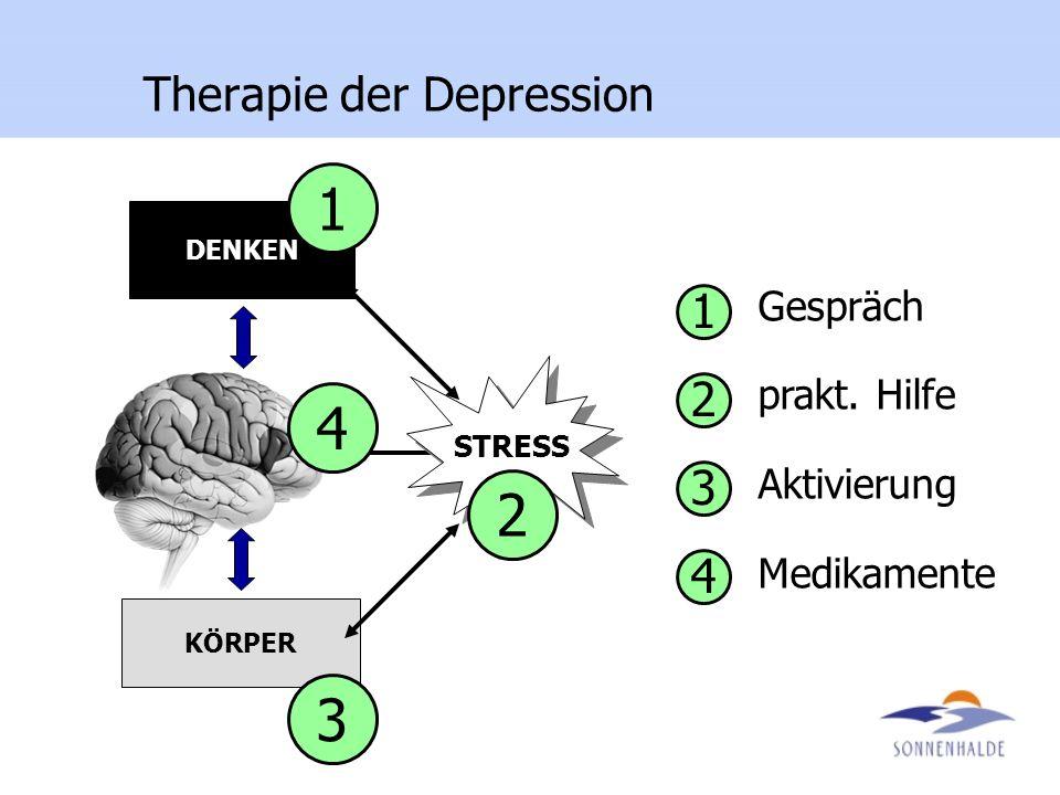 STRESS DENKEN KÖRPER 4 1 3 2 1 2 3 4 Gespräch prakt. Hilfe Aktivierung Medikamente Therapie der Depression