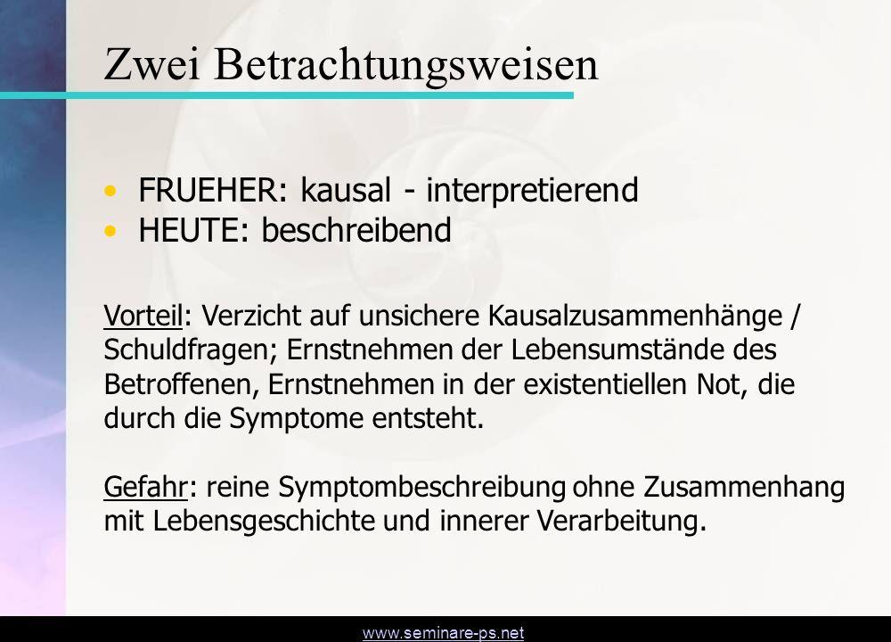www.seminare-ps.net FRUEHER: kausal - interpretierend HEUTE: beschreibend Zwei Betrachtungsweisen Vorteil: Verzicht auf unsichere Kausalzusammenhänge