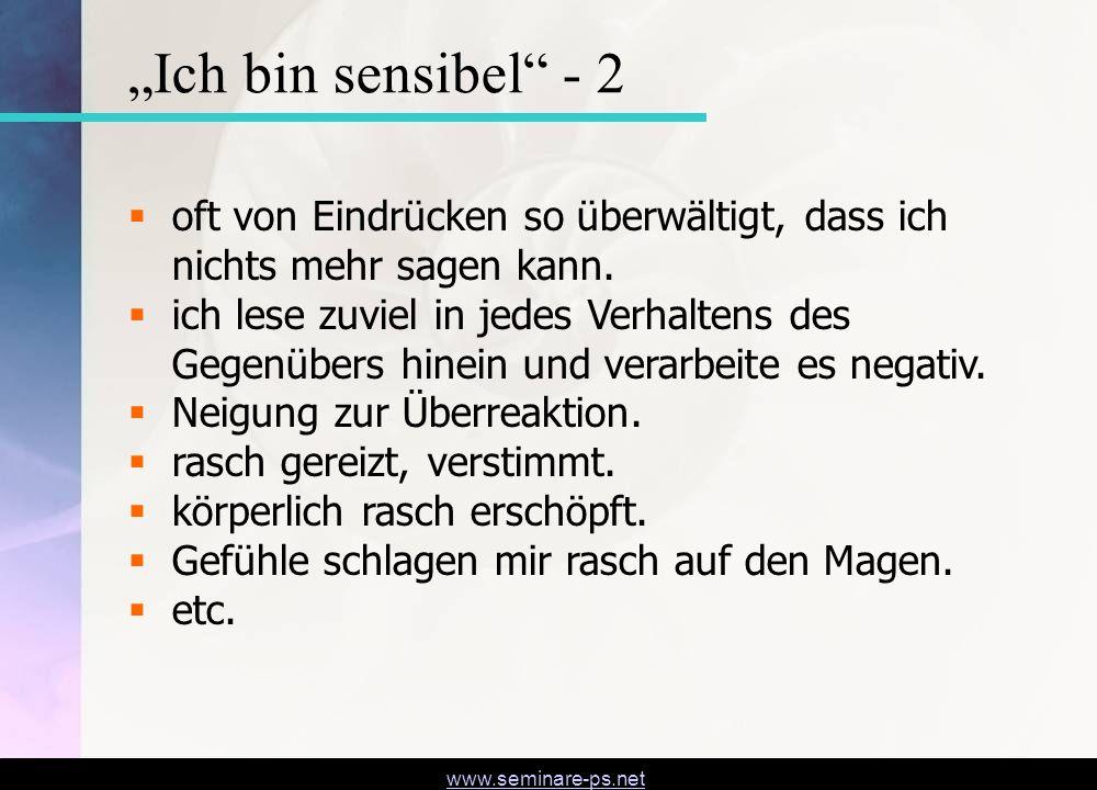 www.seminare-ps.net Vom Umgang mit Sensibilität
