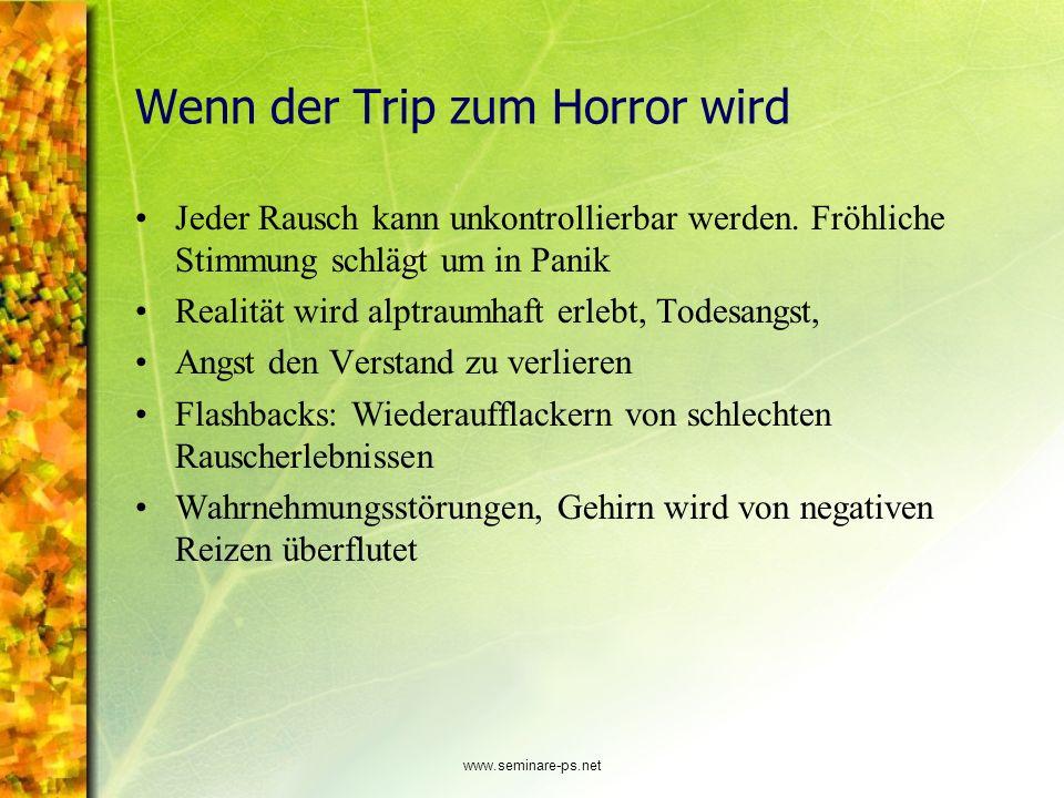 www.seminare-ps.net Wenn der Trip zum Horror wird Jeder Rausch kann unkontrollierbar werden. Fröhliche Stimmung schlägt um in Panik Realität wird alpt