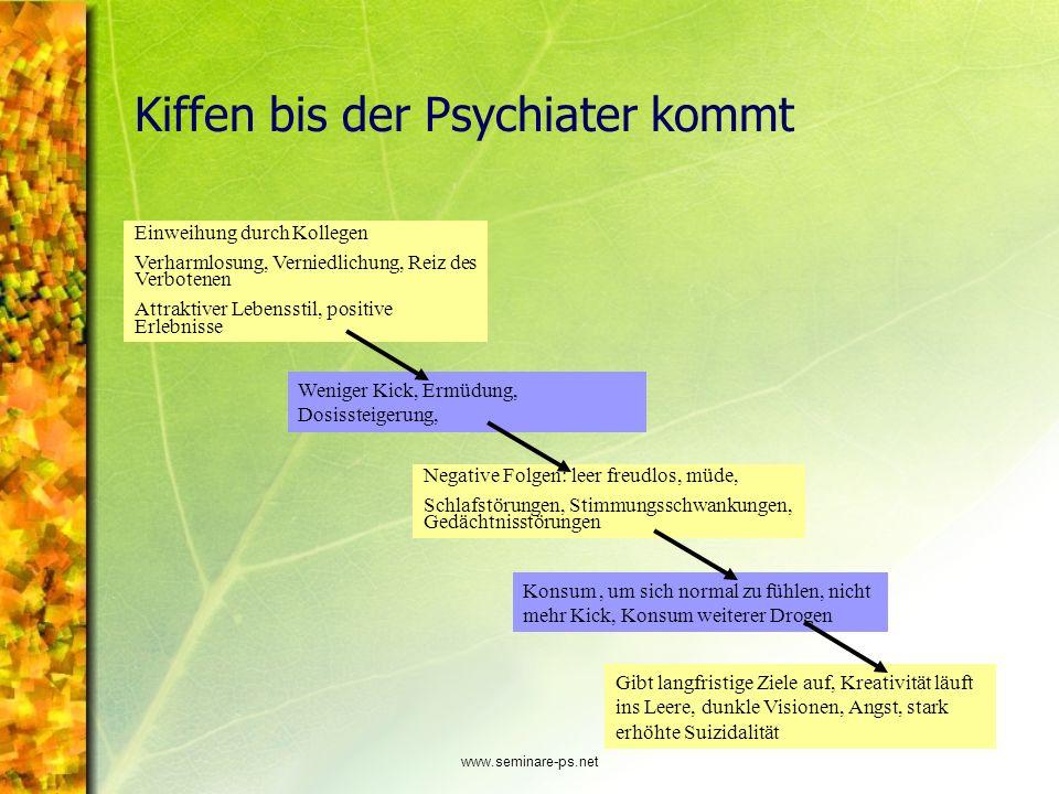 www.seminare-ps.net Kiffen bis der Psychiater kommt Einweihung durch Kollegen Verharmlosung, Verniedlichung, Reiz des Verbotenen Attraktiver Lebenssti