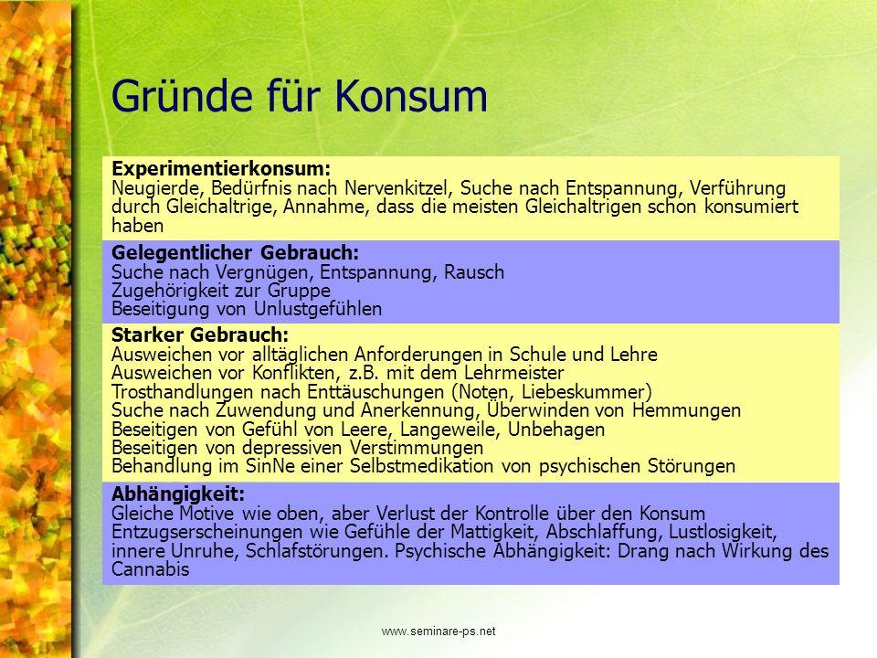www.seminare-ps.net Gründe für Konsum Experimentierkonsum: Neugierde, Bedürfnis nach Nervenkitzel, Suche nach Entspannung, Verführung durch Gleichaltr