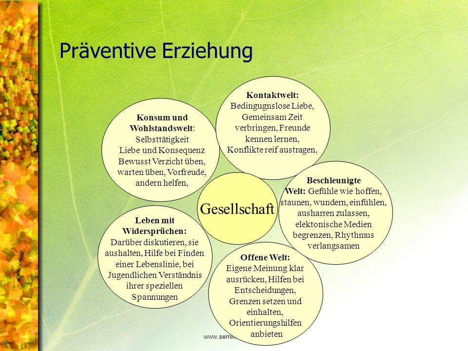 www.seminare-ps.net Präventive Erziehung Konsum und Wohlstandswelt: Selbsttätigkeit Liebe und Konsequenz Bewusst Verzicht üben, warten üben, Vorfreude