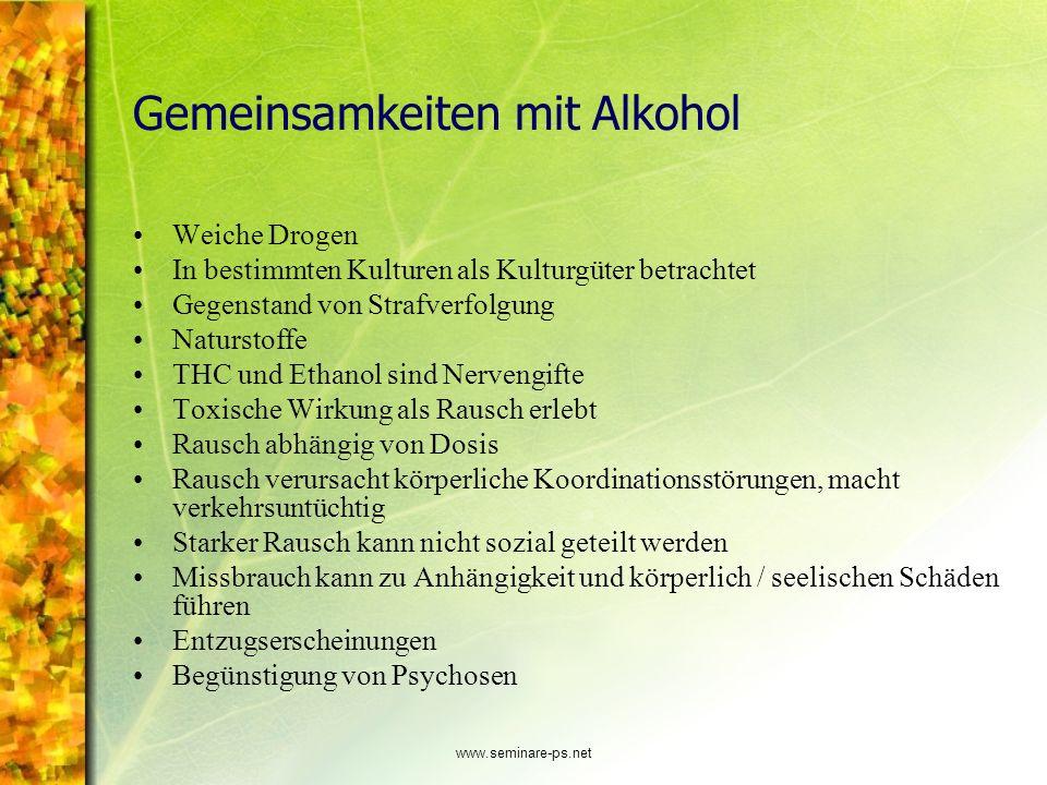 www.seminare-ps.net Gemeinsamkeiten mit Alkohol Weiche Drogen In bestimmten Kulturen als Kulturgüter betrachtet Gegenstand von Strafverfolgung Naturst