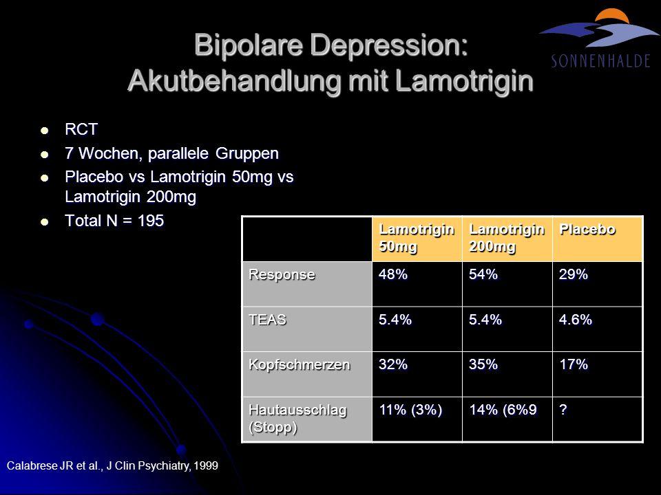 Bipolare Depression: Akutbehandlung mit Lamotrigin RCT RCT 7 Wochen, parallele Gruppen 7 Wochen, parallele Gruppen Placebo vs Lamotrigin 50mg vs Lamot