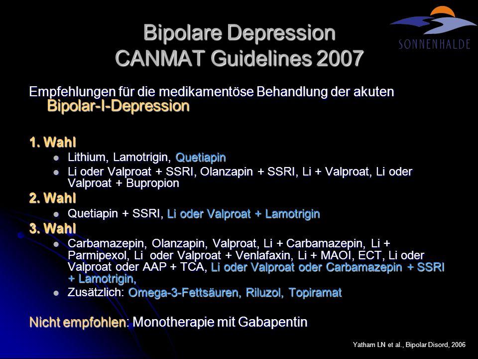 Bipolare Depression CANMAT Guidelines 2007 Empfehlungen für die medikamentöse Behandlung der akuten Bipolar-I-Depression 1. Wahl Lithium, Lamotrigin,
