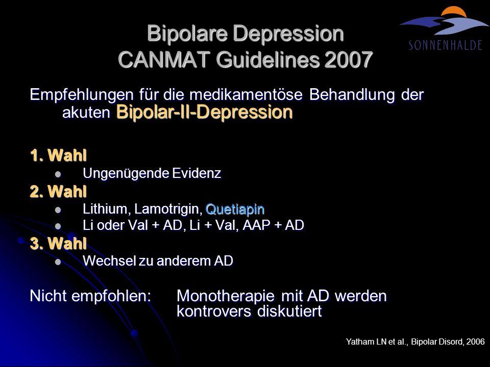 Bipolare Depression CANMAT Guidelines 2007 Empfehlungen für die medikamentöse Behandlung der akuten Bipolar-II-Depression 1. Wahl Ungenügende Evidenz