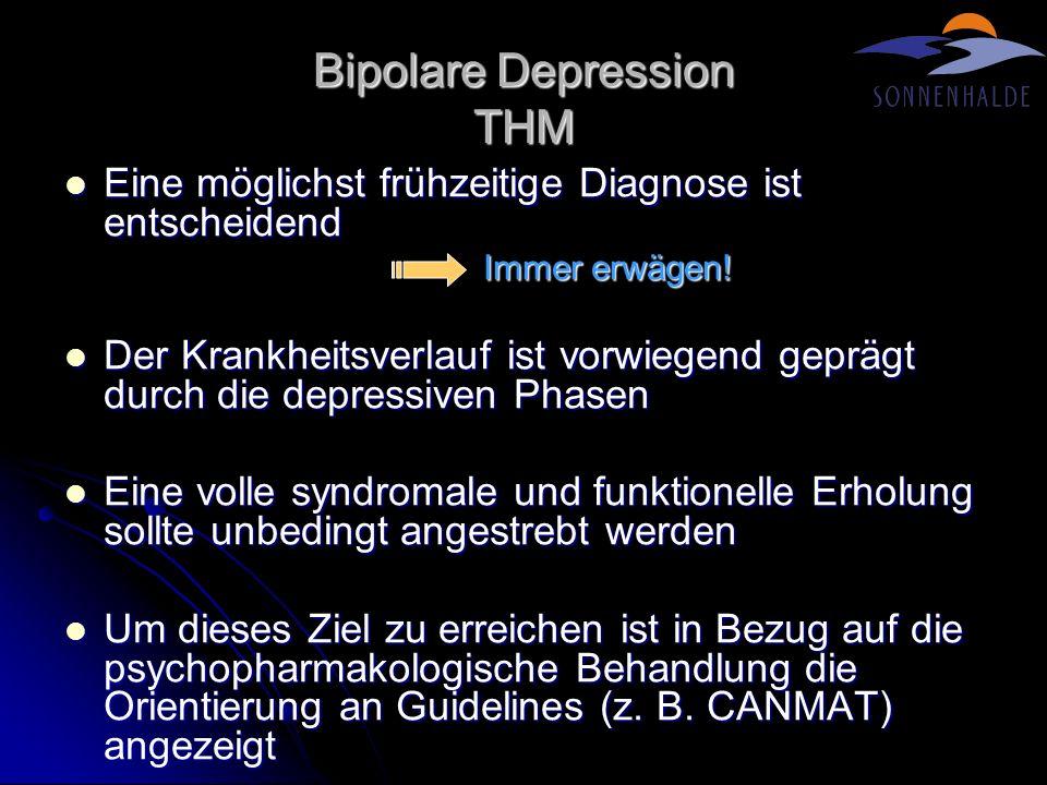 Bipolare Depression THM Eine möglichst frühzeitige Diagnose ist entscheidend Eine möglichst frühzeitige Diagnose ist entscheidend Immer erwägen! Der K