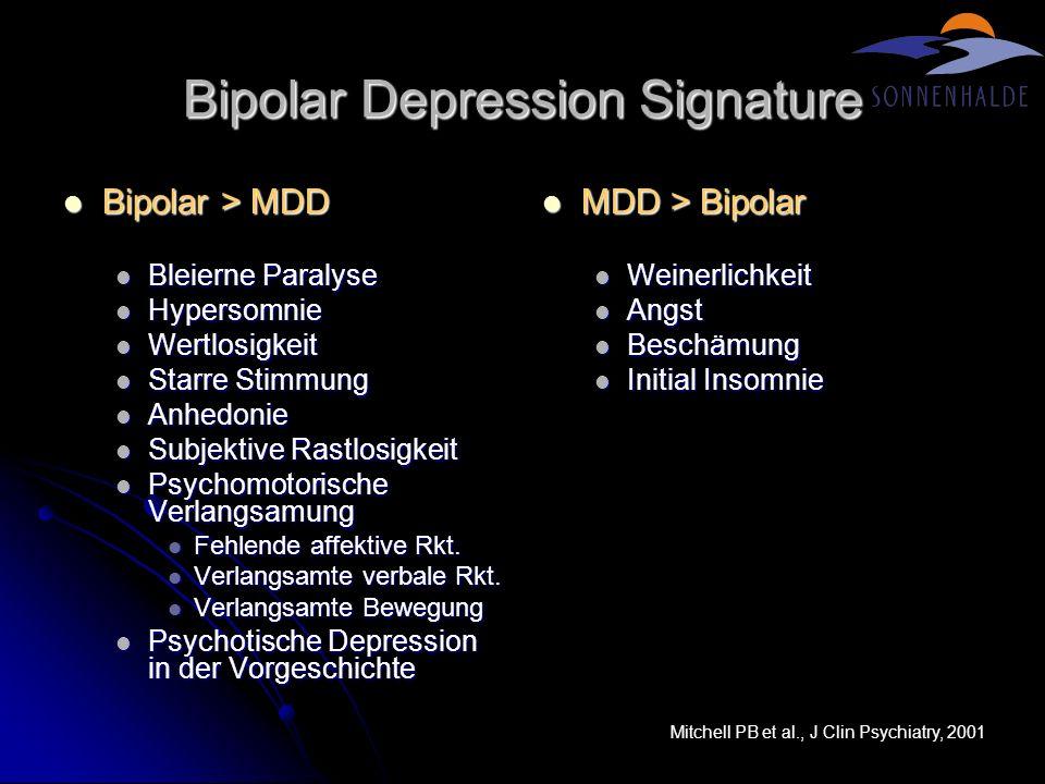 Bipolar Depression Signature Bipolar > MDD Bipolar > MDD Bleierne Paralyse Bleierne Paralyse Hypersomnie Hypersomnie Wertlosigkeit Wertlosigkeit Starr