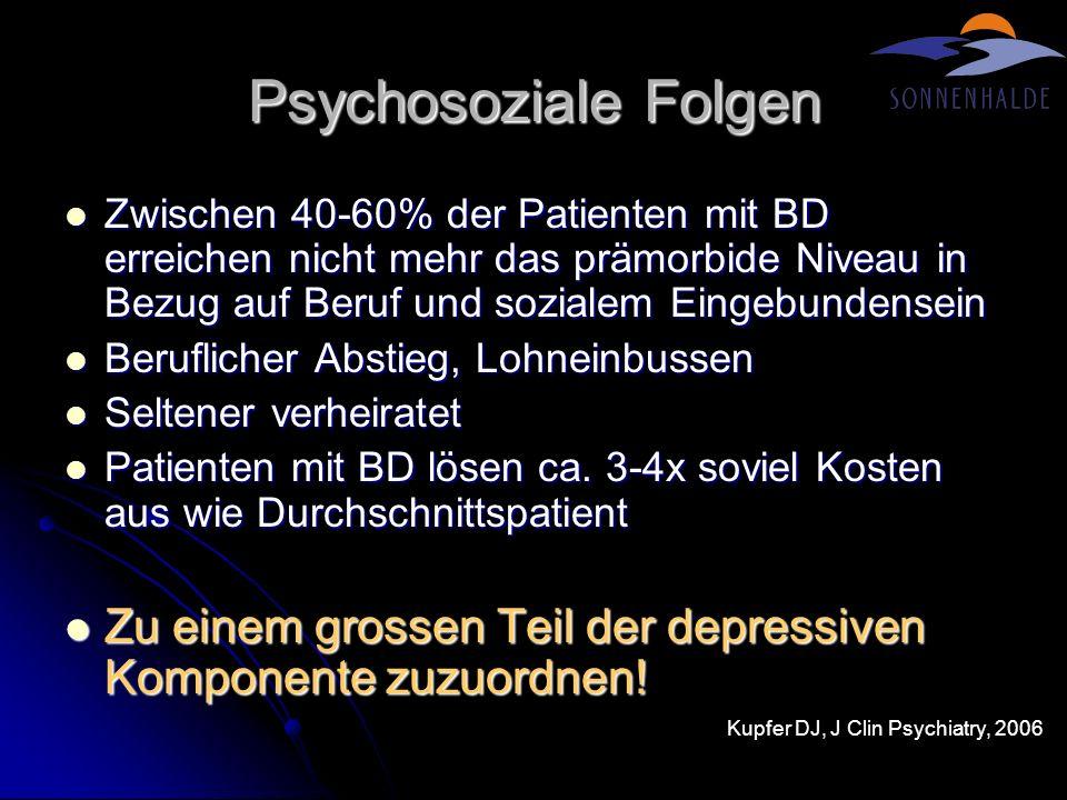 Psychosoziale Folgen Zwischen 40-60% der Patienten mit BD erreichen nicht mehr das prämorbide Niveau in Bezug auf Beruf und sozialem Eingebundensein Z