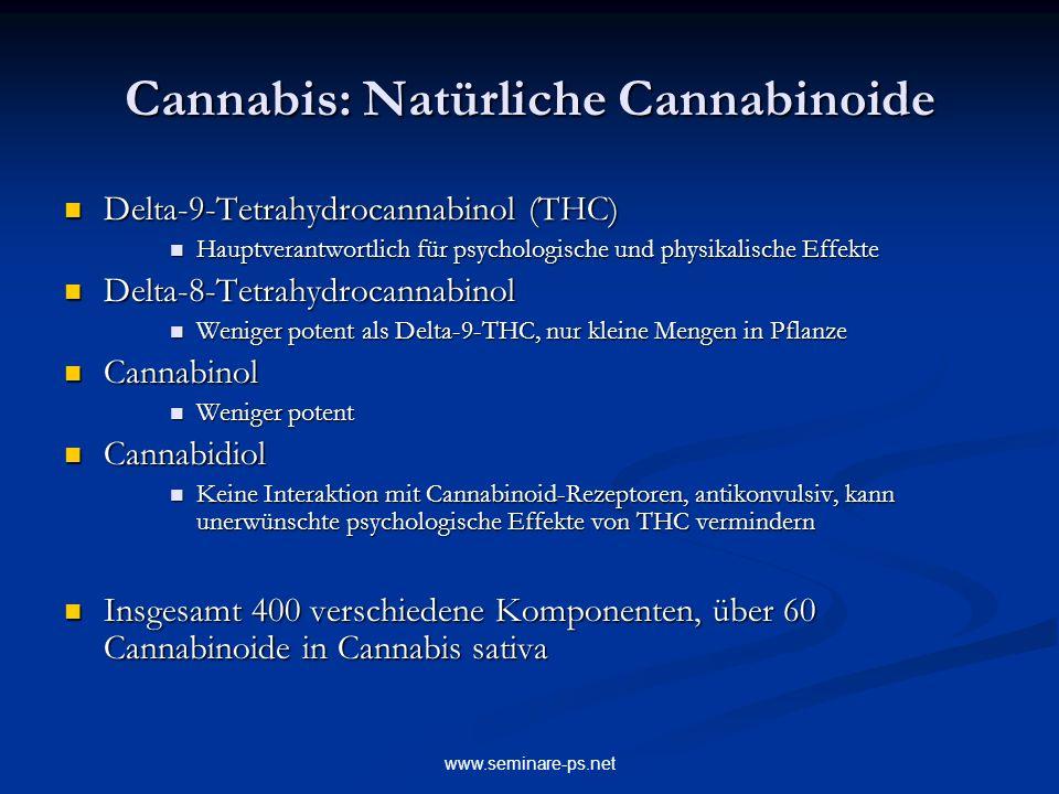 www.seminare-ps.net Cannabis: Natürliche Cannabinoide Delta-9-Tetrahydrocannabinol (THC) Delta-9-Tetrahydrocannabinol (THC) Hauptverantwortlich für ps