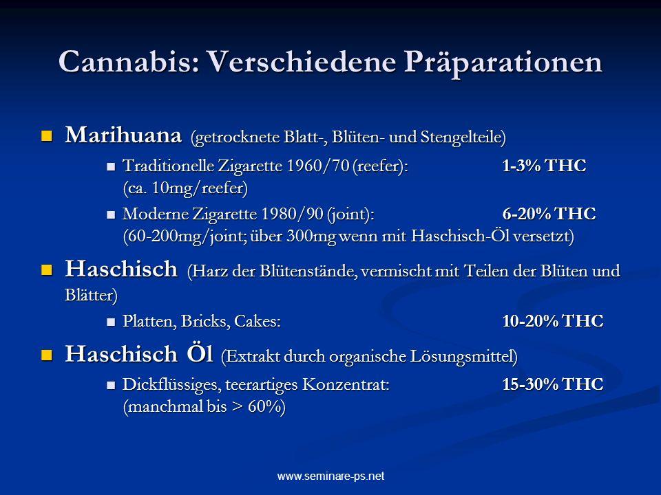 www.seminare-ps.net Cannabis: Verschiedene Präparationen Marihuana (getrocknete Blatt-, Blüten- und Stengelteile) Marihuana (getrocknete Blatt-, Blüte