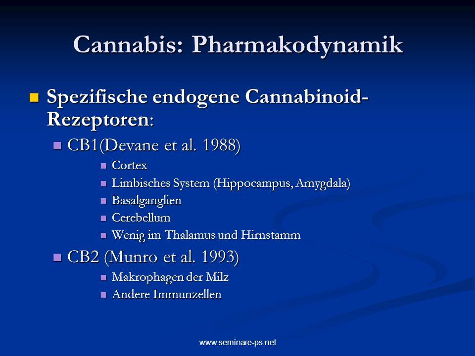 www.seminare-ps.net Cannabis: Pharmakodynamik Spezifische endogene Cannabinoid- Rezeptoren: Spezifische endogene Cannabinoid- Rezeptoren: CB1(Devane e