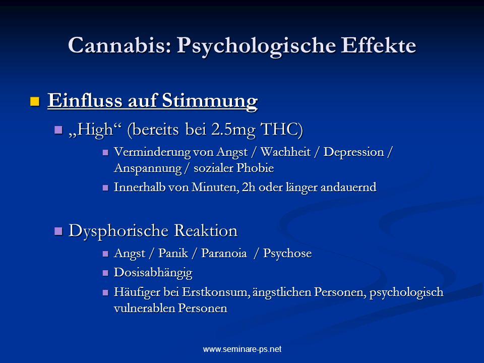 www.seminare-ps.net Cannabis: Psychologische Effekte Einfluss auf Stimmung Einfluss auf Stimmung High (bereits bei 2.5mg THC) High (bereits bei 2.5mg