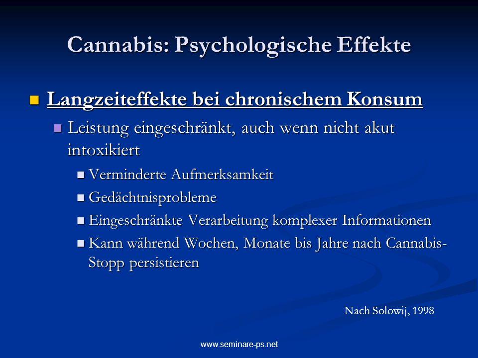 www.seminare-ps.net Cannabis: Psychologische Effekte Langzeiteffekte bei chronischem Konsum Langzeiteffekte bei chronischem Konsum Leistung eingeschrä