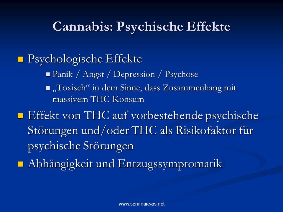 www.seminare-ps.net Cannabis: Psychische Effekte Psychologische Effekte Psychologische Effekte Panik / Angst / Depression / Psychose Panik / Angst / D
