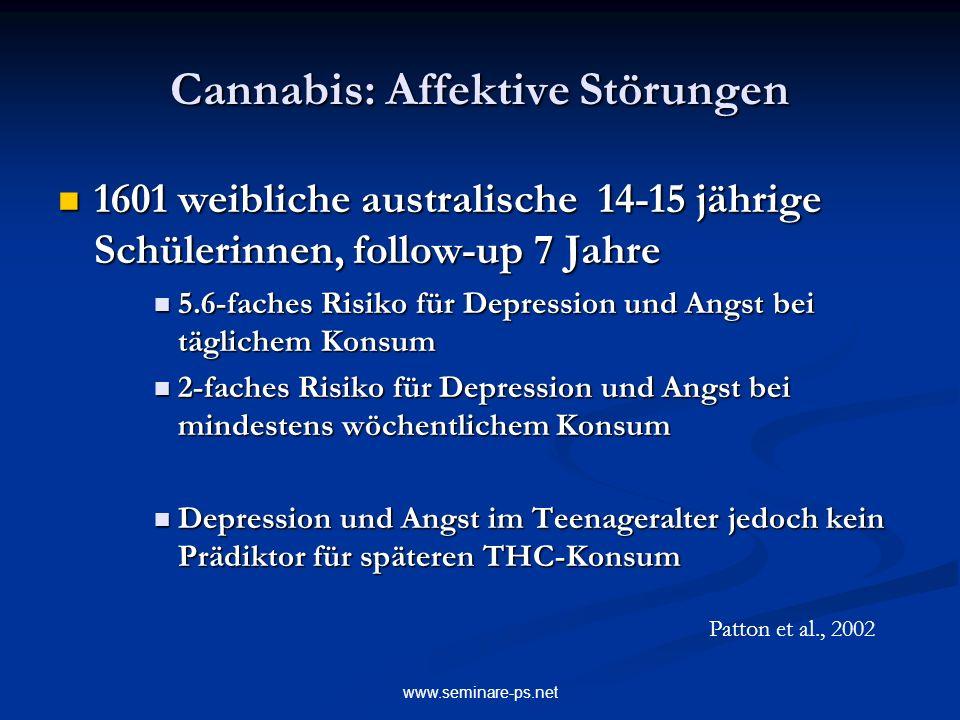www.seminare-ps.net Cannabis: Affektive Störungen 1601 weibliche australische 14-15 jährige Schülerinnen, follow-up 7 Jahre 1601 weibliche australisch