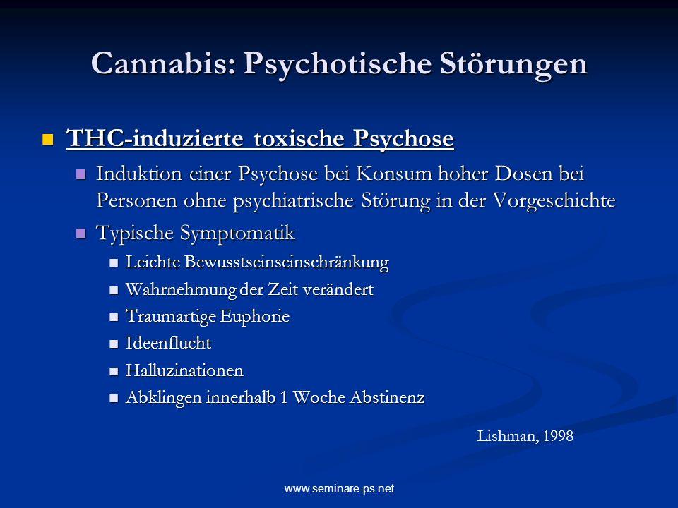 www.seminare-ps.net Cannabis: Psychotische Störungen THC-induzierte toxische Psychose THC-induzierte toxische Psychose Induktion einer Psychose bei Ko