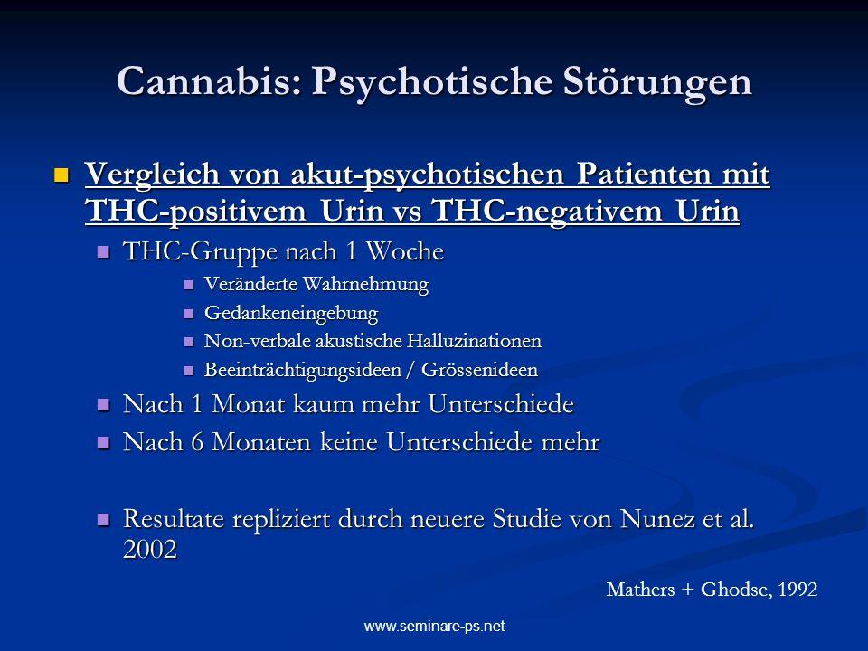 www.seminare-ps.net Cannabis: Psychotische Störungen Vergleich von akut-psychotischen Patienten mit THC-positivem Urin vs THC-negativem Urin Vergleich