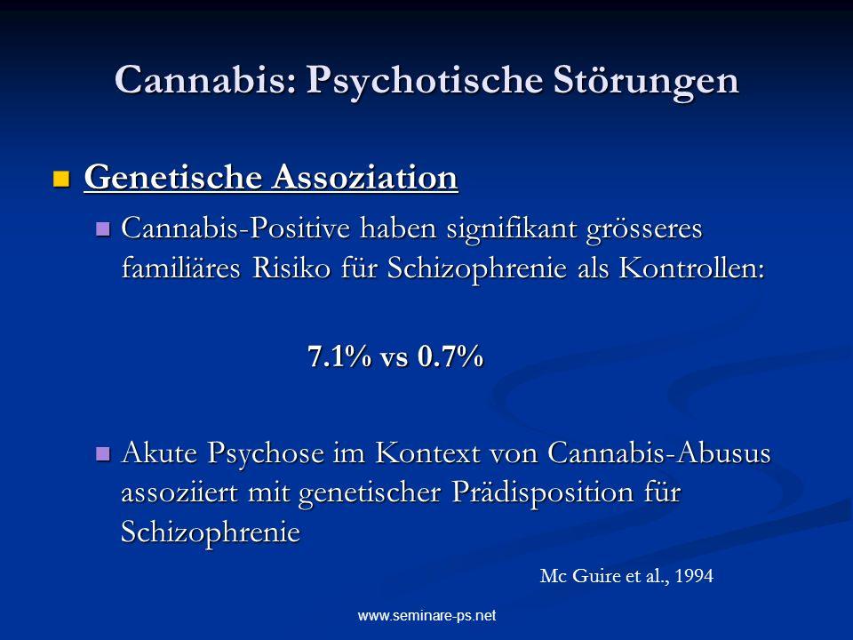 www.seminare-ps.net Cannabis: Psychotische Störungen Genetische Assoziation Genetische Assoziation Cannabis-Positive haben signifikant grösseres famil