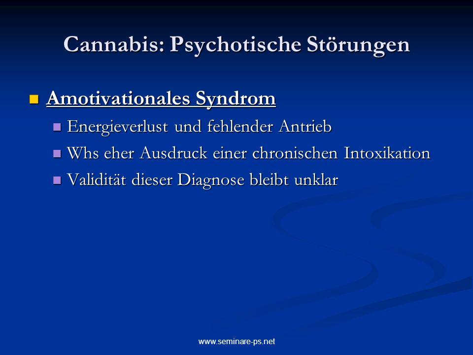 www.seminare-ps.net Cannabis: Psychotische Störungen Amotivationales Syndrom Amotivationales Syndrom Energieverlust und fehlender Antrieb Energieverlu