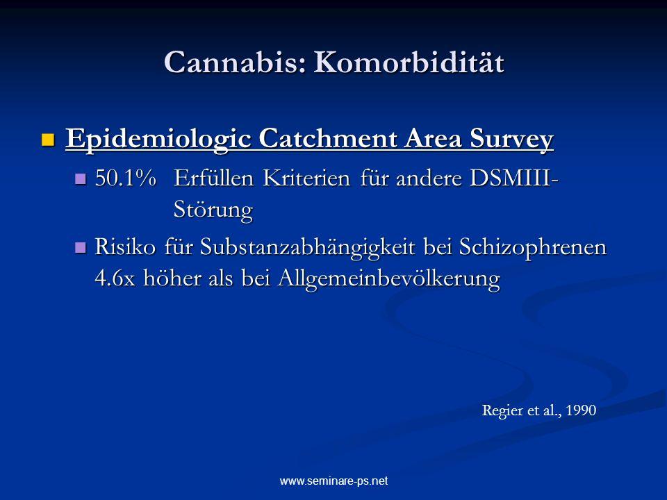www.seminare-ps.net Cannabis: Komorbidität Epidemiologic Catchment Area Survey Epidemiologic Catchment Area Survey 50.1%Erfüllen Kriterien für andere