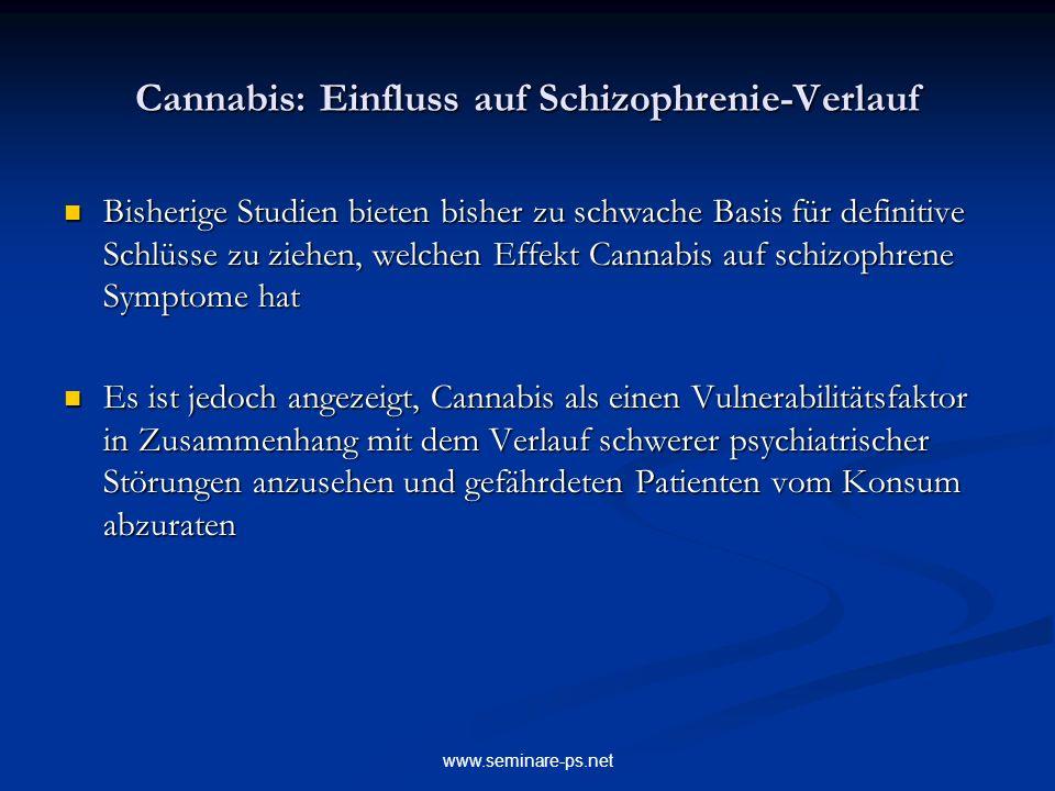 www.seminare-ps.net Cannabis: Einfluss auf Schizophrenie-Verlauf Bisherige Studien bieten bisher zu schwache Basis für definitive Schlüsse zu ziehen,