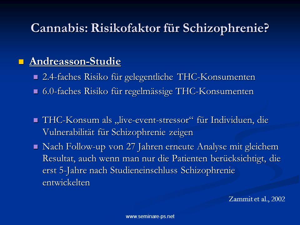 www.seminare-ps.net Cannabis: Risikofaktor für Schizophrenie? Andreasson-Studie Andreasson-Studie 2.4-faches Risiko für gelegentliche THC-Konsumenten