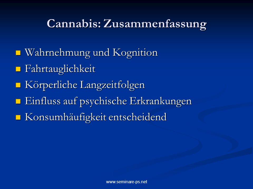 www.seminare-ps.net Cannabis: Zusammenfassung Wahrnehmung und Kognition Wahrnehmung und Kognition Fahrtauglichkeit Fahrtauglichkeit Körperliche Langze