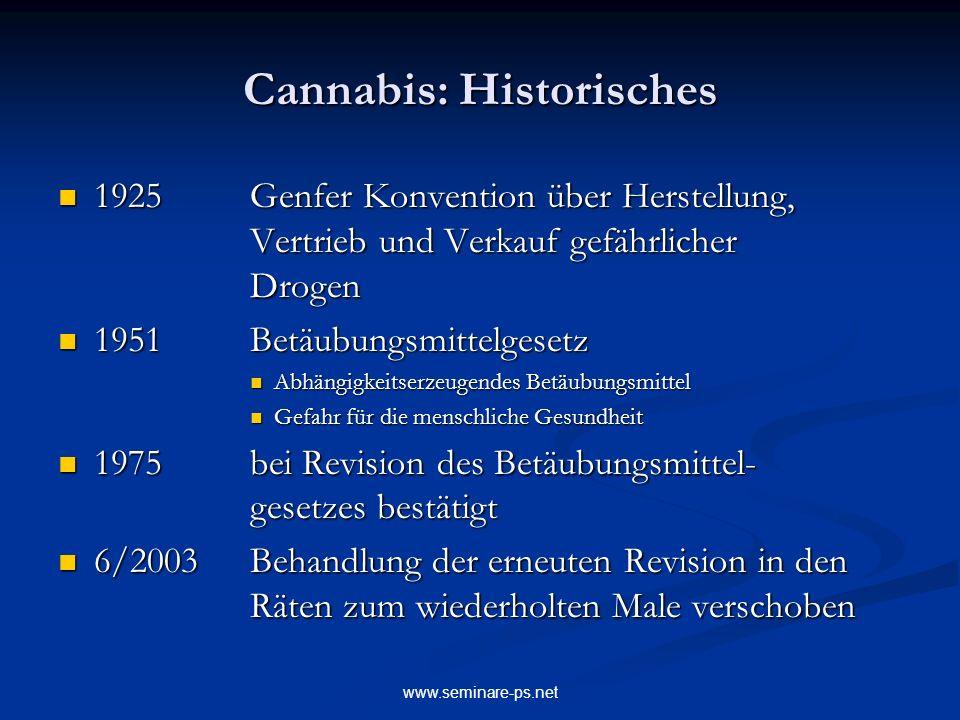 www.seminare-ps.net Cannabis: Historisches 1925Genfer Konvention über Herstellung, Vertrieb und Verkauf gefährlicher Drogen 1925Genfer Konvention über