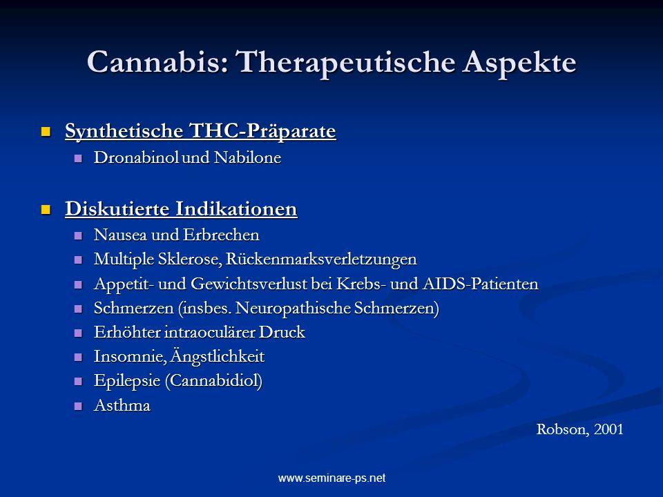 www.seminare-ps.net Cannabis: Therapeutische Aspekte Synthetische THC-Präparate Synthetische THC-Präparate Dronabinol und Nabilone Dronabinol und Nabi