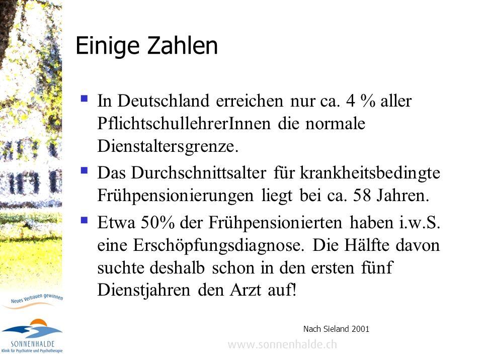 Berufsrisiko Burnout bei Lehrern Dr. med. Samuel Pfeifer, Klinik Sonnenhalde, Riehen BS