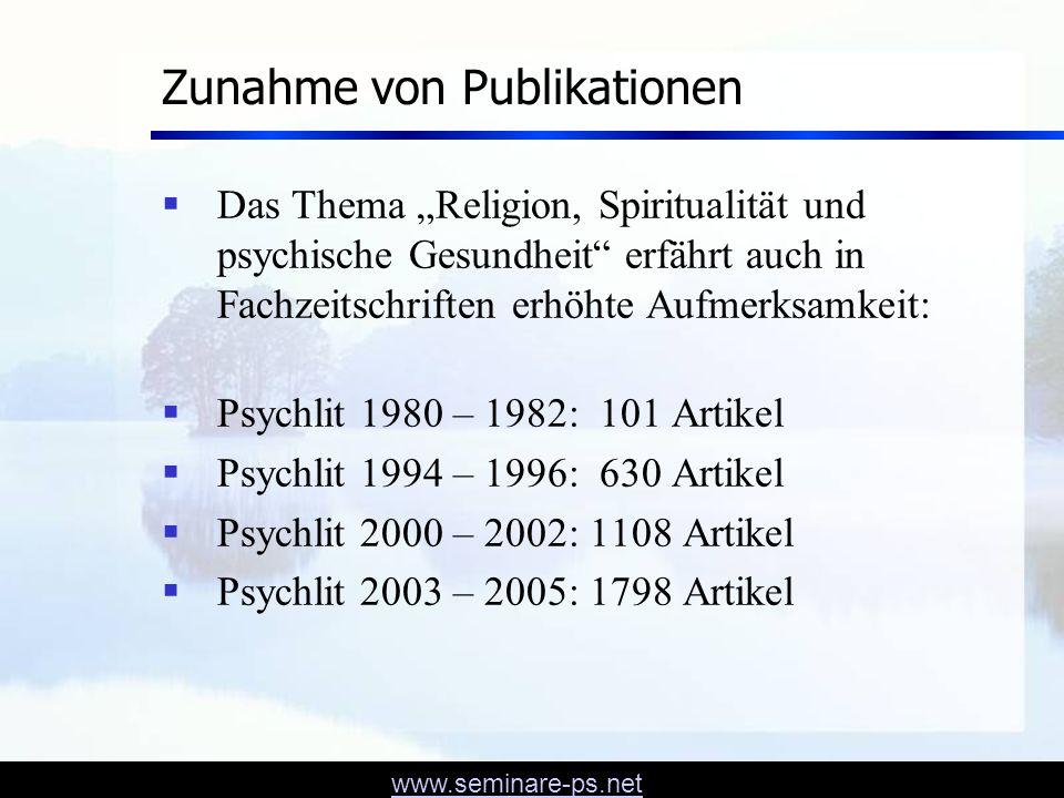 www.seminare-ps.net Studie Psychopathology and Religious Commitment Pfeifer & Wälty 1994, 1999 Patienten (N = 44) mit depressiven Störungen, Angststörungen und Persönlichkeitsstörungen Kontrollgruppe (N = 45) Bei allen Probanden wurde Neurotizismus und Religiosität mit standardisierten Fragebogen gemessen.