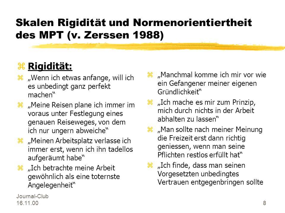 Journal-Club 16.11.007 Merkmale des Typus Melancholicus nach v. Zerssen (n. Krankengeschichten, 1990) zals Kind ruhig, brav, angepasst; Mitläufertyp z