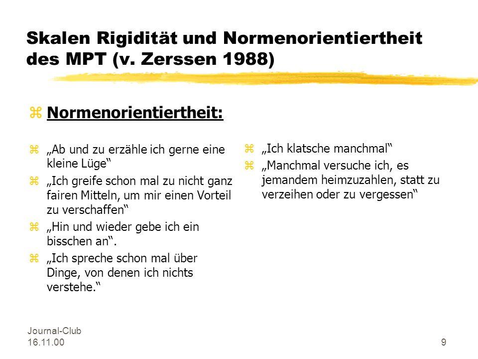 Journal-Club 16.11.008 Skalen Rigidität und Normenorientiertheit des MPT (v. Zerssen 1988) zRigidität: zWenn ich etwas anfange, will ich es unbedingt