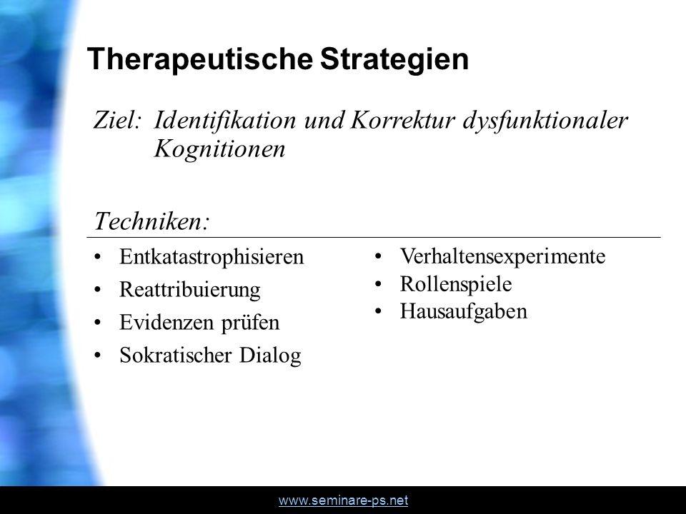 www.seminare-ps.net Therapeutische Strategien Techniken: Entkatastrophisieren Reattribuierung Evidenzen prüfen Sokratischer Dialog Ziel: Identifikatio
