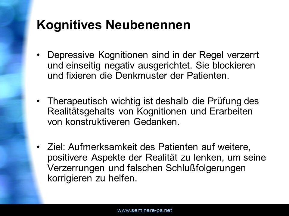 www.seminare-ps.net Kognitives Neubenennen Depressive Kognitionen sind in der Regel verzerrt und einseitig negativ ausgerichtet. Sie blockieren und fi