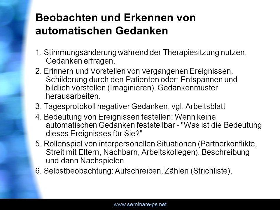 www.seminare-ps.net Beobachten und Erkennen von automatischen Gedanken 1.