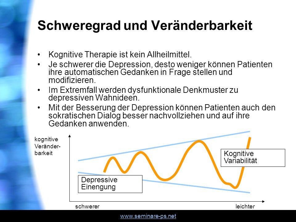 www.seminare-ps.net Schweregrad und Veränderbarkeit Kognitive Therapie ist kein Allheilmittel. Je schwerer die Depression, desto weniger können Patien