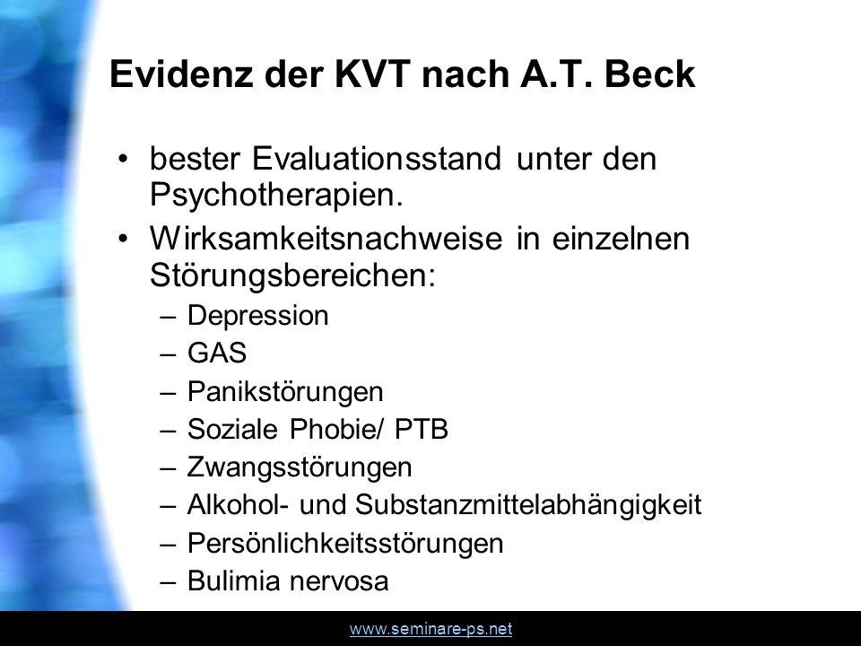 www.seminare-ps.net Evidenz der KVT nach A.T. Beck bester Evaluationsstand unter den Psychotherapien. Wirksamkeitsnachweise in einzelnen Störungsberei