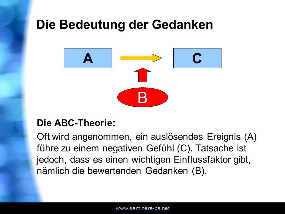 www.seminare-ps.net Die Bedeutung der Gedanken Die ABC-Theorie: Oft wird angenommen, ein auslösendes Ereignis (A) führe zu einem negativen Gefühl (C).