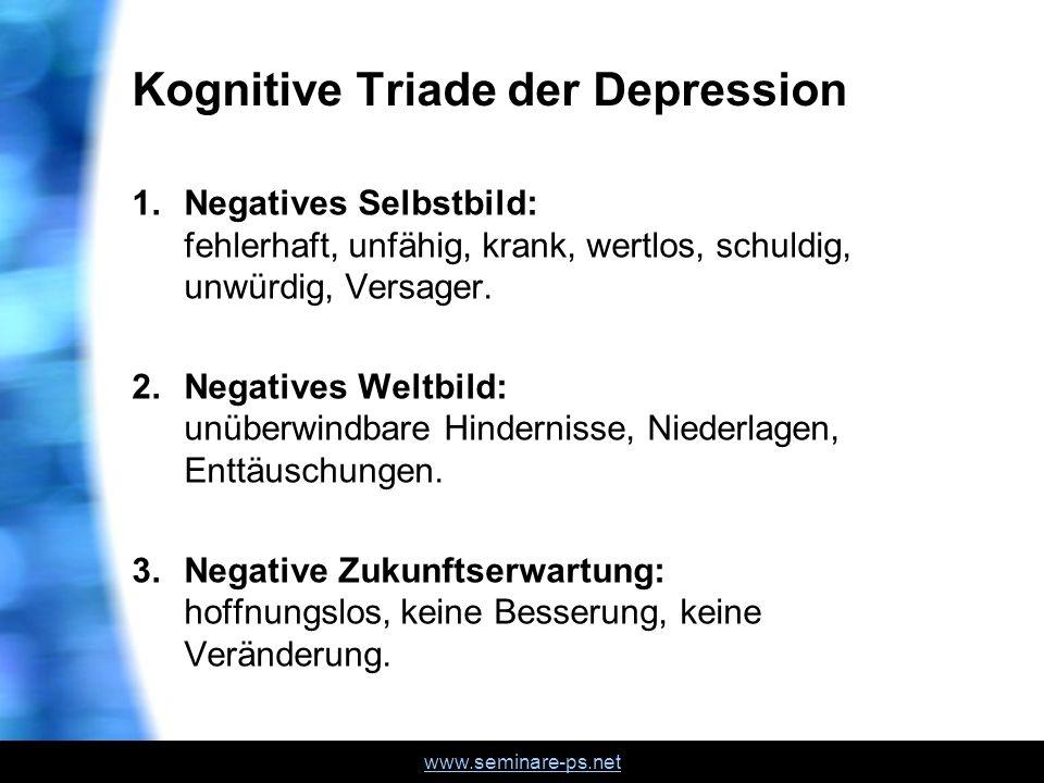 www.seminare-ps.net Kognitive Triade der Depression 1.Negatives Selbstbild: fehlerhaft, unfähig, krank, wertlos, schuldig, unwürdig, Versager. 2.Negat