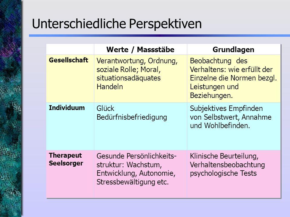 Gesellschaft Individuum Therapeut Seelsorger Werte / Massstäbe Verantwortung, Ordnung, soziale Rolle; Moral, situationsadäquates Handeln Glück Bedürfn