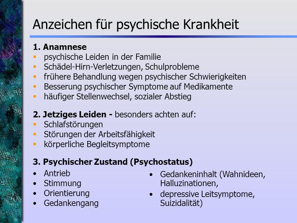 Anzeichen für psychische Krankheit 1. Anamnese psychische Leiden in der Familie Schädel-Hirn-Verletzungen, Schulprobleme frühere Behandlung wegen psyc