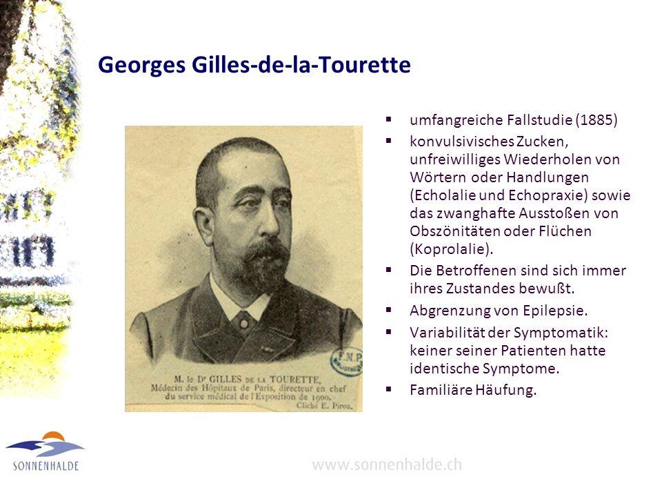 Georges Gilles-de-la-Tourette umfangreiche Fallstudie (1885) konvulsivisches Zucken, unfreiwilliges Wiederholen von Wörtern oder Handlungen (Echolalie und Echopraxie) sowie das zwanghafte Ausstoßen von Obszönitäten oder Flüchen (Koprolalie).
